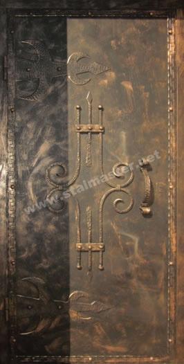 стальные двери с элементами ковки и стеклом каталог